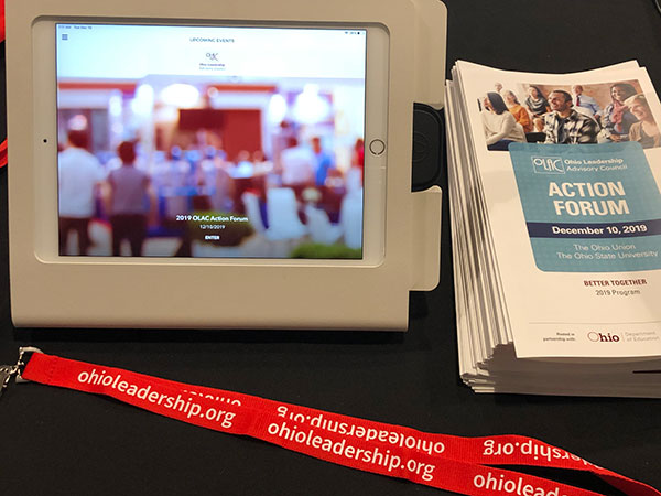 the action forum program, badge, and kiosk